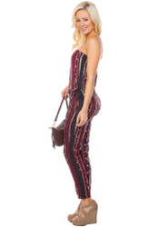 100% Cotton! Strapless Burgundy & Black Jumpsuit from Dress Club!