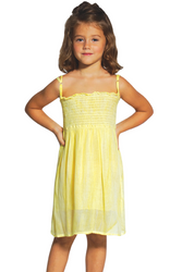 KIDS / GIRL'S YELLOW TIE DYE STRAPLESS DRESS WITH OPTIONAL SPAGHETTI STRAPS!