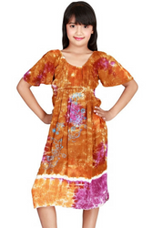 KIDS / GIRL'S CARAMEL BROWN TIE DYE DRESS!
