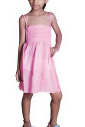 KIDS / GIRL'S TIE DYE STRAPLESS DRESS WITH OPTIONAL SPAGHETTI STRAPS! PINK.
