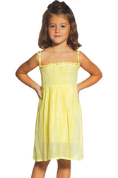 KIDS / GIRL'S TIE DYE STRAPLESS DRESS WITH OPTIONAL SPAGHETTI STRAPS! YELLOW.