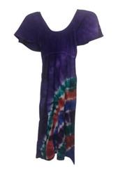 KIDS / GIRL'S 100% RAYON PURPLE DRESS WITH TIE DYE STRIPES!