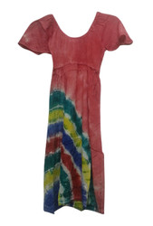 KIDS / GIRL'S 100% RAYON PINK DRESS WITH TIE DYE STRIPES!