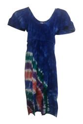 KIDS / GIRL'S 100% RAYON BLUE DRESS WITH TIE DYE STRIPES!