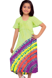 KIDS / GIRL'S 100% RAYON LIME GREEN DRESS WITH TIE DYE STRIPES!