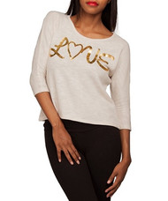 WHITE TOP WITH GOLD PRINT: LOVE!