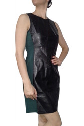 Green & Black Dress with Vegan Leather Panel and Long Zipper Back!