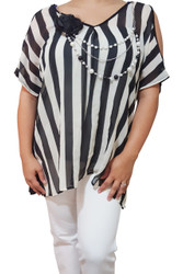 PLUS SIZE Black & White Vertical Stripes with Cutout Back!