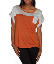 100% Rayon Grey & Orange Top with Chest Pocket! Made in India.