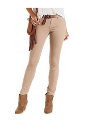 Stretch Pants / Jeggings. Nude Skinny Jeans with Faux Front Pockets.