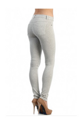 Stretch Pants / Jeggings. Heather Grey Skinny Jeans with Faux Front Pockets.