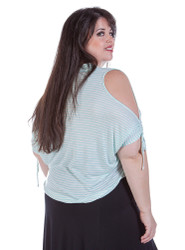 Plus Size Top with Cut Out Shoulders & Tie Cuffs! Mint Stripes.