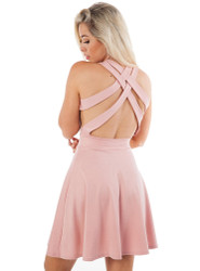 Blush Skater Dress with Criss-Cross Strappy Back!