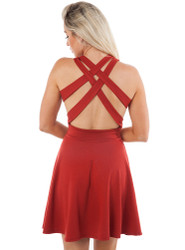 Red Rust Skater Dress with Criss-Cross Strappy Back!