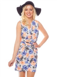 Blue and Peach Watercolor Floral Print Dress with Cinched Waist!