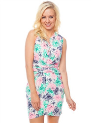 Green and Pink Watercolor Floral Print Dress with Cinched Waist!