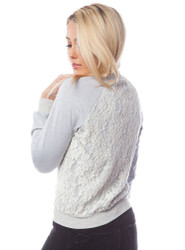 Long Sleeve Lightweight Jacket with White Lace Overlay!