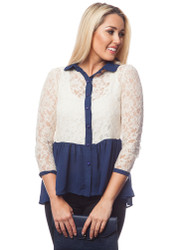 White Lace Top with Navy Blue Peplum!