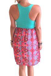 Skater Dress! Teal with Red Aztec. 96% Rayon.