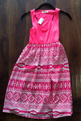 Skater Dress! Pink with Aztec. 96% Rayon.
