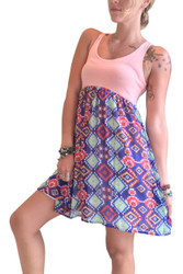 Skater Dress! Peach with Blue with Aztec. 96% Rayon.