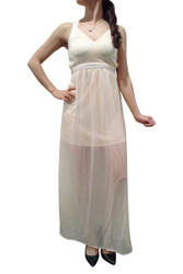 Long Chiffon Halter Dress! Peach.