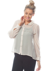 Beige Chiffon Button-Up Blouse with Lace Collar!