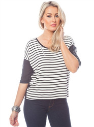 Black & White Striped Top with Color-Blocked Sleeves!