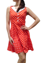 97% Cotton! Vintage Sleeveless Red Dress With White Polka Dots!