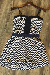 Amazing! Navy Blue & Blush Chevron Romper!