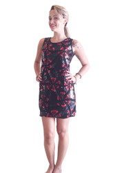 Black Sequined Bodycon Dress With Red Metallic Flowers!
