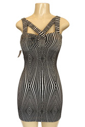 80% Cotton Black & White Geo Zebra Bodycon Dress With Criss-Cross!
