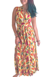 Yellow Multi-Yellow Geo Print Maxi Dress!