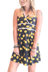 Black Dress With Yellow Daisy Floral!