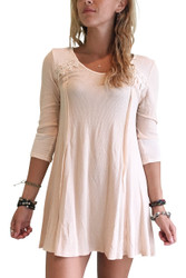 95% Rayon. Long Sleeve Dress With Crochet Accents! Peach.