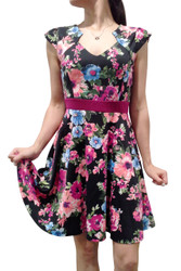 Adorable Black Skater Dress With Cap Sleeves And Bold Floral Print!