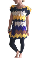Chevron Print Shift Dress with Full Zipper Back!