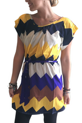 Chevron Shift Dress with Full Zipper Back! Yellow & Black.