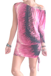 Silky Tunic Dress with Bodycon Lower! Fuchsia.