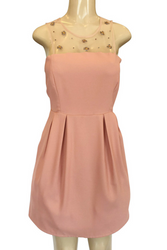 Peach Dress with Sheer Chest & Zipper Back from LOVPOSH!