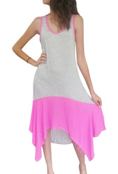 Grey & Hot Pink Maxi Tank Dress from GREEN PEA!