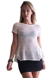 Ivory / Oatmeal Top with Lace & Peplum Effect from GREEN PEA!