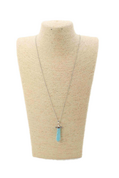 Cute, Dainty  Silver Chain Necklace with Turquoise 'Crystal'.
