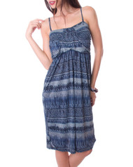Blue Spaghetti Strap Dress with Subtle Tribal / Tie Dye Print.