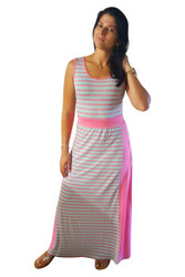 Maxi Dress With Banded Middle. Coral & Mint Stripes. 50% Cotton.