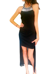 Hi-Low Black Maxi Dress With Bulit In Necklace Jewelry!