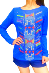 Cobalt Blue Top with Aztec Print and Aztec, Tribal, Top with Zipper Back!