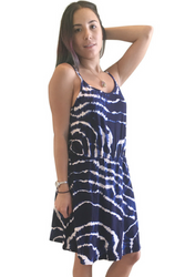 $49 Tags! Navy Blue & White Tie Dye Dress with Spaghetti Straps!