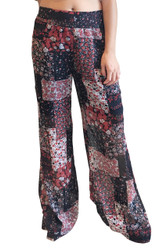 Black & Red Patchwork Pattern Palazzo Pants! Flare Leg, Bell Bottoms. 100% Viscose (Rayon).