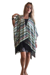 One Size Boho Cover Up Cardigan With Tassels. Mint Green.